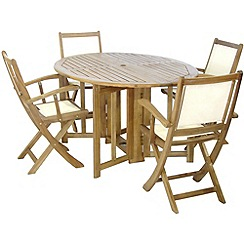 Debenhams - Acacia wood 'Henley' table and 4 folding chairs