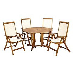 Debenhams - Acacia wood 'Henley' table and 4 reclining chairs