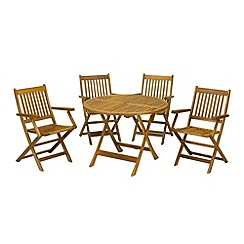 Debenhams - Acacia wood 'Manhattan' table and 4 folding armchairs