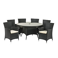 Debenhams - Black wicker 'Cannes' table and 6 carver chairs