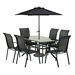 Debenhams - Aluminium 'Cayman' table and 6 chairs with 2.75m parasol and base