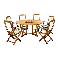 Debenhams - Acacia wood 'Henley' table with Lazy Susan and 6 folding chairs