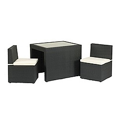 Debenhams - Black wicker 'Cannes' table and 2 chairs balcony set