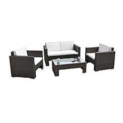 Debenhams - Black wicker 'Cannes' sofa, coffee table and 2 armchairs