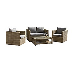 Debenhams - Brown wicker 'Wentworth' sofa, coffee table and 2 armchairs