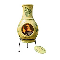 La Hacienda - Medium green tree print clay chimenea