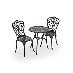 Debenhams - Black cast aluminium 'Sussex' bistro set