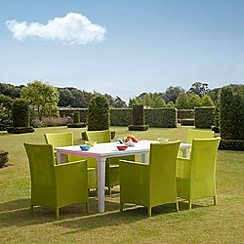 Debenhams - White 'Futura' dining table and 6 lime green 'Iowa' chairs