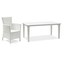 Debenhams - White 'Futura' dining table and 6 white 'Iowa' chairs