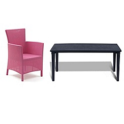 Debenhams - Black 'Futura' dining table and 6 pink 'Iowa' chairs