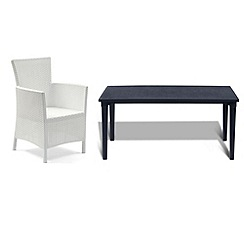 Debenhams - Black 'Futura' dining table and 6 white 'Iowa' chairs