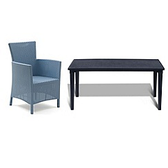 Debenhams - Black 'Futura' dining table and 6 blue 'Iowa' chairs