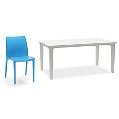 Debenhams - White 'Futura' dining table and 6 blue 'Sento' chairs