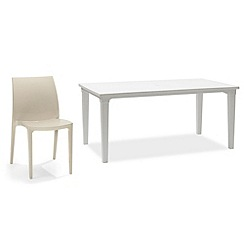 Debenhams - White 'Futura' dining table and 6 taupe 'Sento' chairs