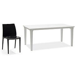 Debenhams - White 'Futura' dining table and 6 black 'Sento' chairs