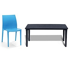 Debenhams - Black 'Futura' dining table and 6 blue 'Sento' chairs