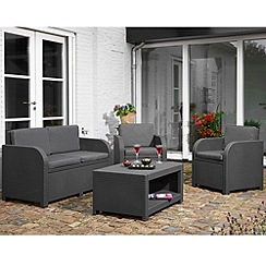 Debenhams - Grey 'Modena' 2-seater sofa, coffee table and 2 armchairs