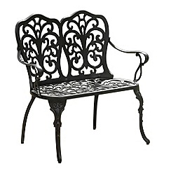 Debenhams - Black cast aluminium 'Sussex' bench