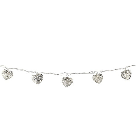 Debenhams - Set of 20 silver metal heart lights