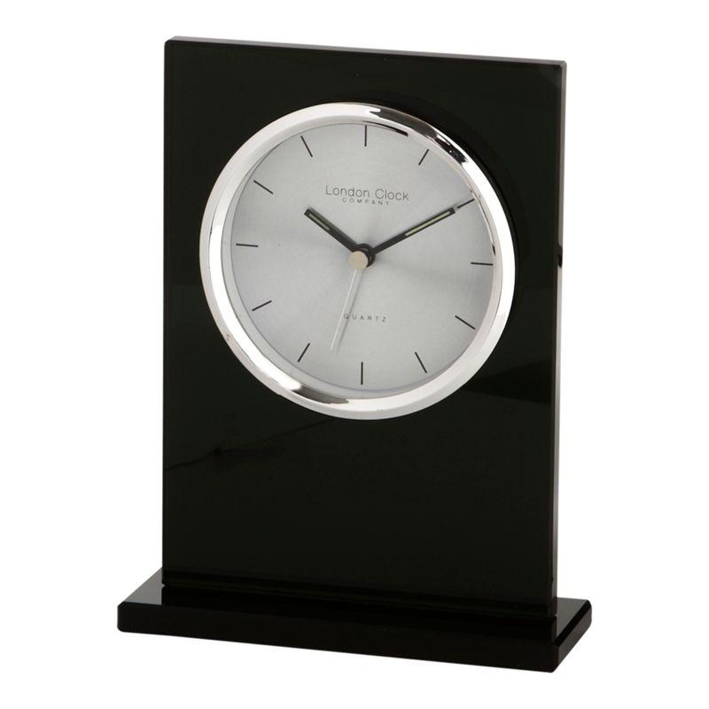 London Clock Black glass mantel clock