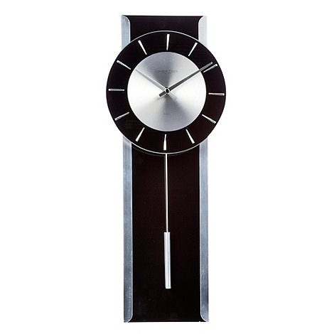 London Clock - Black glass +Pendulum+ wall clock