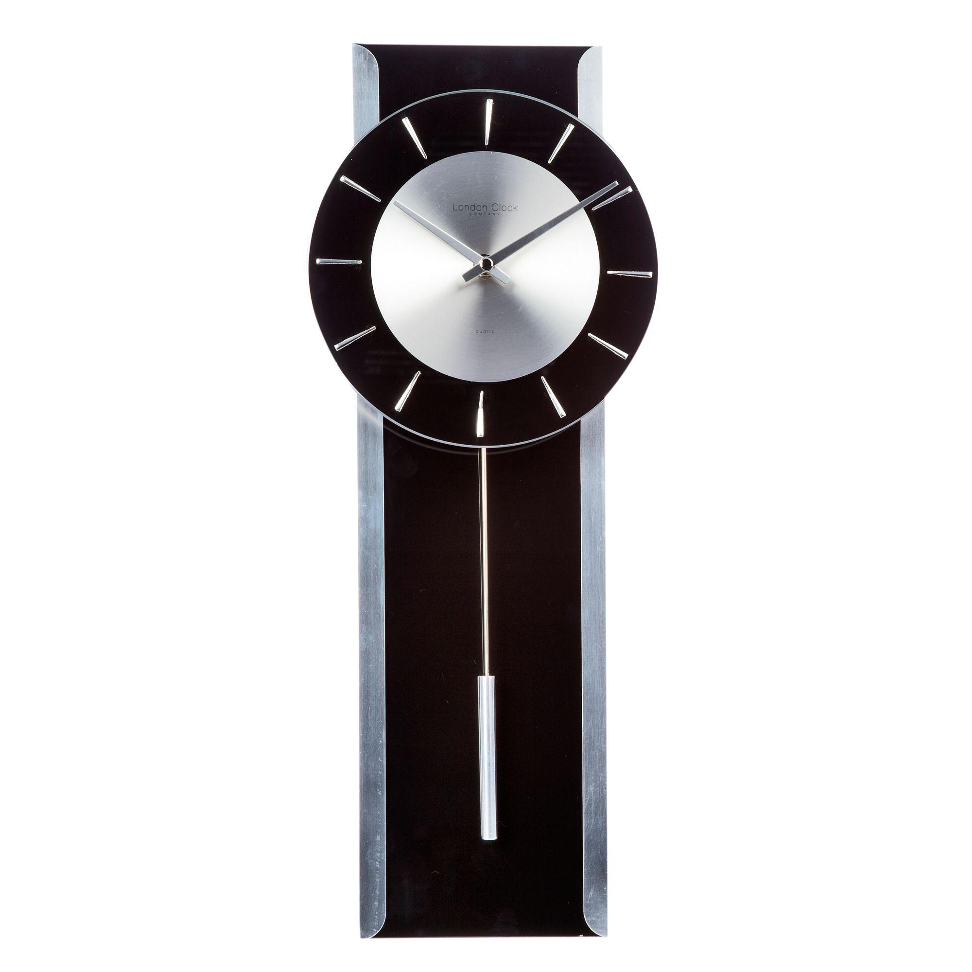 Debenhams Black Glass 39 Pendulum 39 Wall Clock Ebay