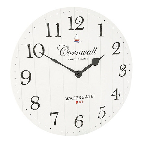 Debenhams - White +Cornwall+ wall clock