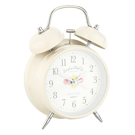 London Clock - Cream twin bell alarm clock