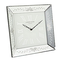 Debenhams - Silver floral mirrored wall clock