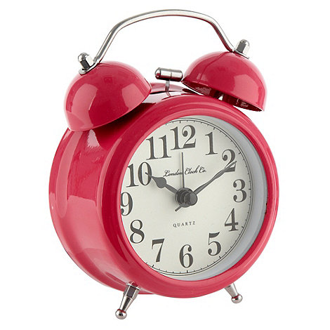 London Clock - Pink twin bell alarm clock