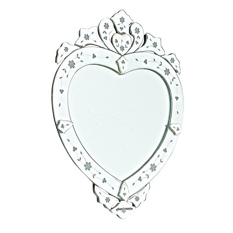 Debenhams - Silver Venetian heart-shaped wall mirror