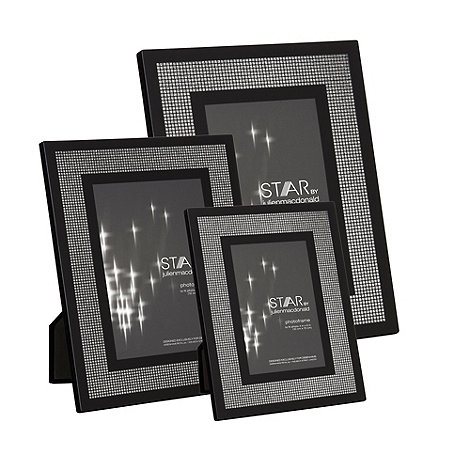Star by Julien Macdonald - Black glitter border photo frames