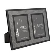 Black glittery double photo frame