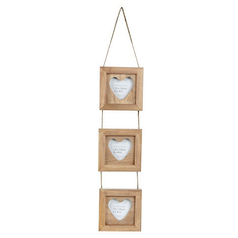Debenhams - Beige triple 4 x 4 inch hanging heart photo frame