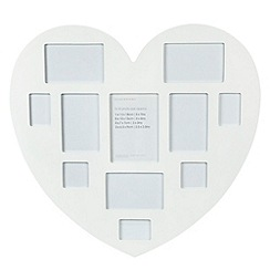 Debenhams - White large multi picture heart photo frame