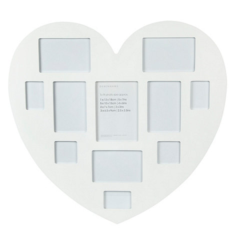 Debenhams - White large multi picture heart photo frame