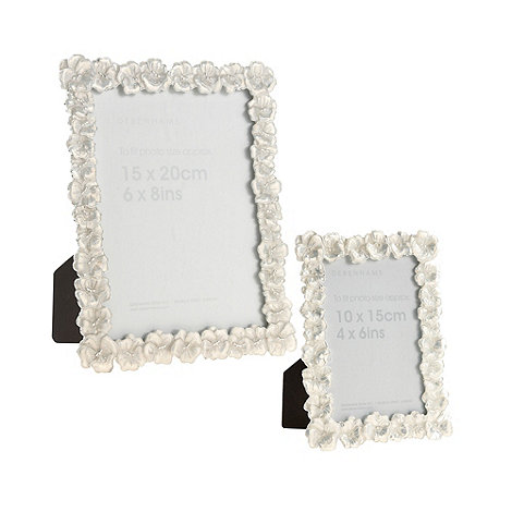 Debenhams - White enamel flower photo frames