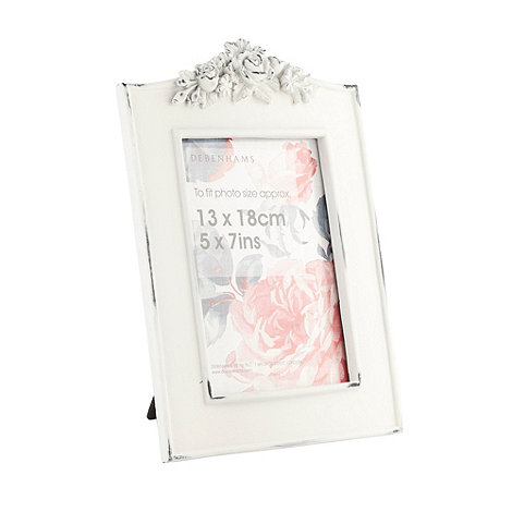 Debenhams - White resin 5 x 7 inch flower frame