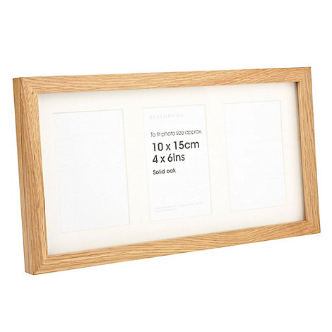 Debenhams - Oak wood three window photo frame