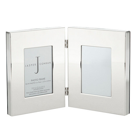 J by Jasper Conran - Silver hinged double 2.5 inchx3.5 inch frame