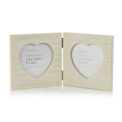 Debenhams - Cream double heart wooden photo frame