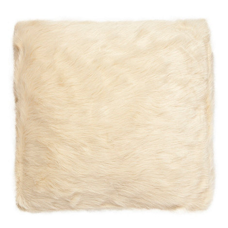 Debenhams - Cream faux fur cushion