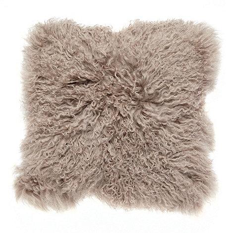 Debenhams - Natural Mongolian sheep wool cushion