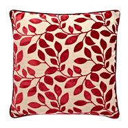 Red burnout leaf cushion