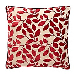 Debenhams - Red burnout leaf cushion