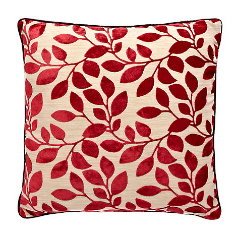 Home Collection - Red burnout leaf cushion