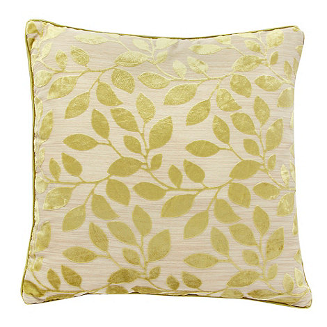 Debenhams - Green burnout leaf cushion