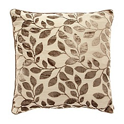 Debenhams - Taupe burnout leaf cushion