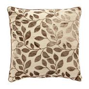 Taupe burnout leaf cushion