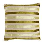 Green burnout striped cushion